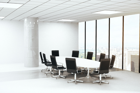 boardroom: Bright concrete boardroom interior with round table, chairs, column and panoramic window with city view. 3D Rendering Stock Photo