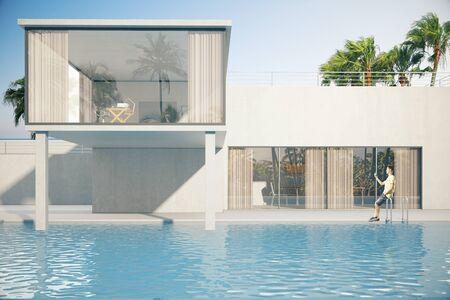 Luxueus huis buitenkant met jonge kerel bij het zwembad. Palmbomen op de achtergrond. 3D Rendering Stockfoto