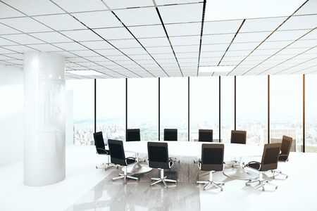 round table conference: Bright concrete conference room interior with round table, chairs, column and panoramic window with city view. 3D Rendering