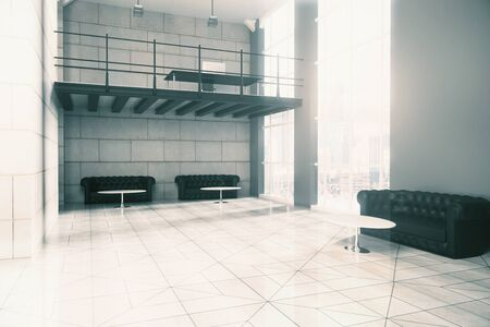 couches: Side view of interior design, concrete tile floor and walls, several couches, coffee tables and window with city view. 3D Rendering