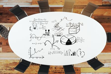 round chairs: round table and chairs with drawing business strategy. 3D Rendering