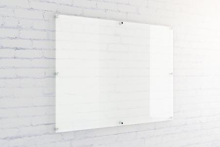 Blanco glazen plaat op witte bakstenen muur achtergrond. Mock-up, 3D-rendering