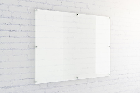 Blank glass plate on white brick wall background. Mock up, 3D Rendering Stok Fotoğraf