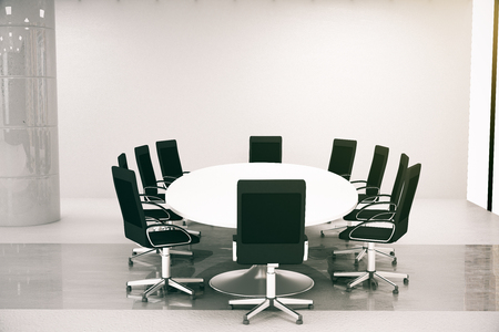 round table: Side view of bright concrete conference room interior with round table, chairs. 3D Rendering