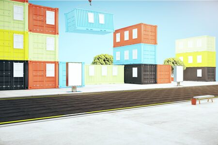 dockyard: Colorful cargo containers and blank ad stand in the street on buildings background. Mock up, 3D Rendering