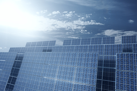 technolgy: Front view of solar panels on house roof against cloudy sky. 3D Rendering Stock Photo
