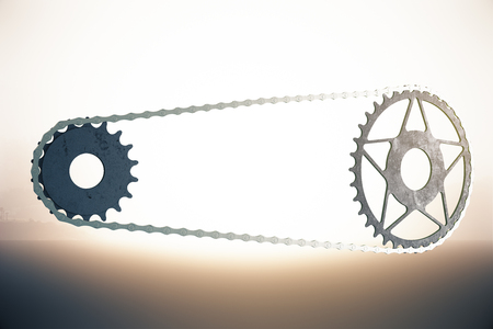 gearing: Bicycle gearing on abstract bright background. 3D Rendering Stock Photo