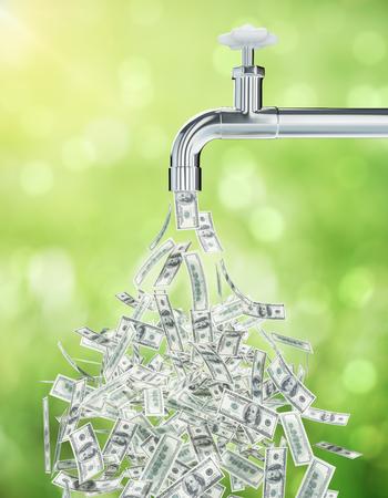 Dollarrekeningen die van een open tapkraan op groene achtergrond stromen. Financieel groeiconcept. 3D-weergave
