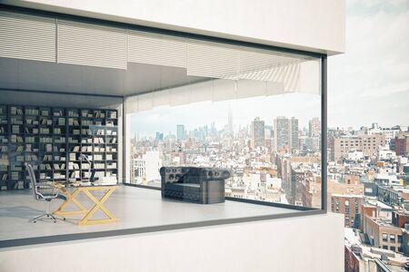 Zie-through bouw buitenkant met panoramische ramen, op het werk, bank en boekenkast op stad achtergrond. 3D Rendering