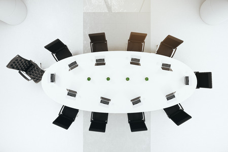 round chairs: concrete conference room interior with round table, chairs. View from above. 3D Rendering