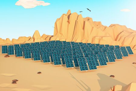 photocell: Solar panels in polygonal desert with mountains, several clouds and birds in the sky. 3D Rendering