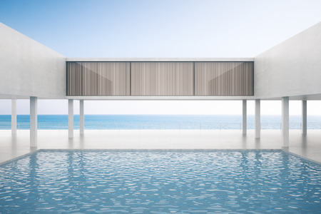 3d swimming pool: Modern concrete exterior with swimming pool on bright sky background. 3D Rendering