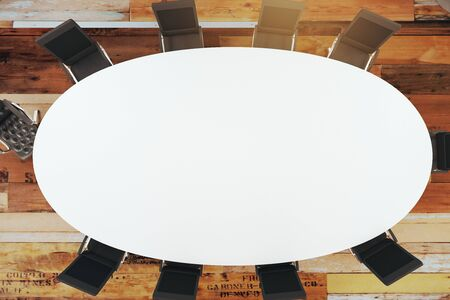 round chairs: conference room interior with round table, chairs. View from above. 3D Rendering