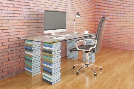 Education concept with workplace on stack of colorful books in concrete interior with window. 3D Rendering