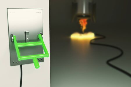 lever: Startup concept with abstract blurry launching rocket ship connected to green lever switch on dark grey background. 3D Rendering