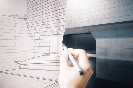 Male hand drawing loft bedroom blueprint with furniture 3d hand turning exterior blueprint on paper into real building 3d rendering photo malvernweather Image collections