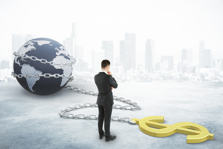 Businessman looking on dollar sign on a chain. 3D Rendering