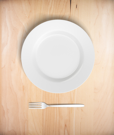potluck: Top view of empty plate and fork on light wooden table. Mock up, 3D Rendering
