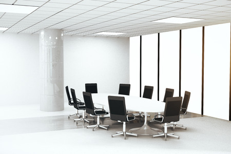round chairs: Side view of bright concrete conference room interior with round table, chairs, column and panoramic window with no view. 3D Rendering
