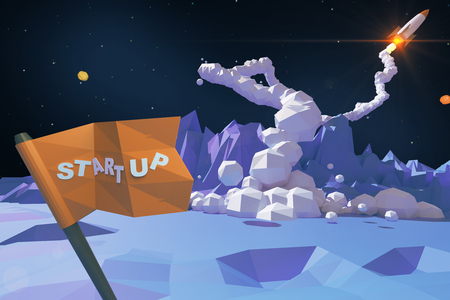 Start up concept with abstract polygonal planet, flag with text and launching rocket ship. 3D Rendering