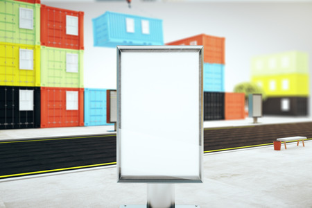 Closeup of blank ad stand in the street and colorful cargo containers on grey background. Mock up, 3D Rendering
