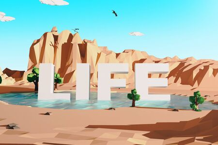 voluminous: Abstract polygonal desert with mountains and voluminous text in pond. Life concept. Clear sky background. 3D Rendering