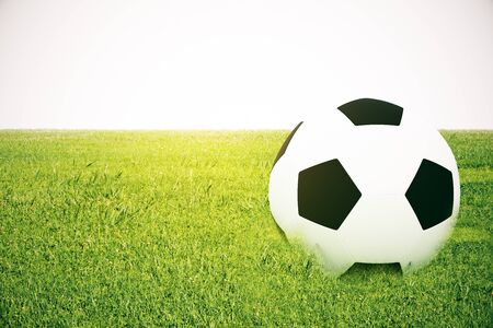 footie: Closeup of football on grass. White background. 3D Rendering