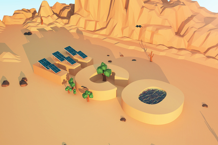 rocks water: Eco concept with solar panels, water, trees, mountains and rocks in polygonal desert. 3D Rendering