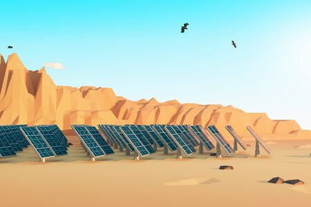 Side view of solar panels in polygonal desert with mountains, several clouds and birds in the sky. 3D Rendering