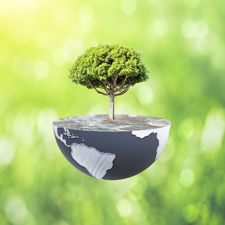 Half a globe with large tree on abstract background. Green earth concept. 3D Rendering