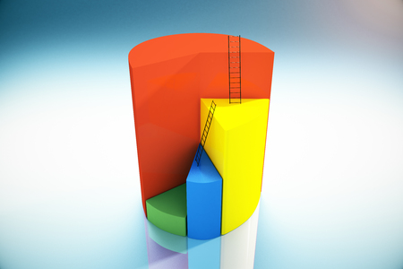 ladders: Abstract pie chart with ladders on grey background. 3D Rendering