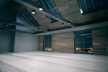 loft interior: Side view of loft room interior with night city view. Wooden floor, walls, and ceiling. Country style. 3D Rendering Stock Photo