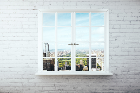 window view: Window with city view on white brick wall. 3D Rendering