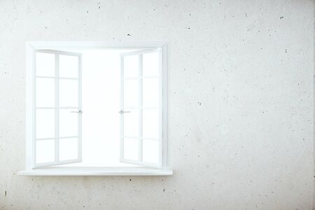 white window: Front view of concrete wall with empty white window. Mock up, 3D Rendering
