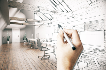 unfinished: Male hand drawing unfinished project of country style coworking office interior. 3D Rendering Stock Photo