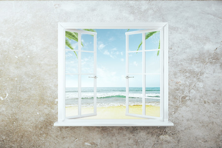 window view: Open window with beach view on concrete wall. 3D Rendering
