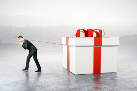 dragging: Businessman dragging huge present box on abstract background. 3D Rendering
