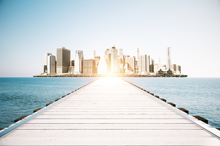 dock: Wooden sea pier on sky clear sky and city background with sunlight. Mock up, 3D Rendering