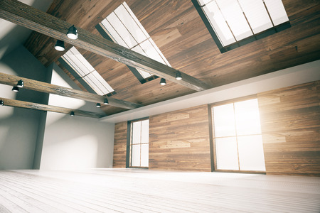 Side view of loft interior design with wooden walls, floor, ceiling and windows. Country style. 3D Rendering Stock Photo