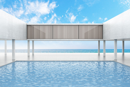 3d swimming pool: Concrete building exterior with swimming pool on bright blue sky background. 3D Rendering