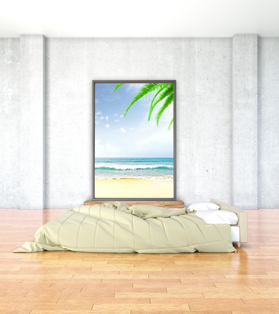 bedroom wall: Minimalistic bedroom interior with wooden floor and beach photo on concrete wall. 3D Rendering