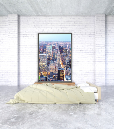 bedroom wall: Minimalistic bedroom interior with concrete floor and city photo on brick wall. 3D Rendering