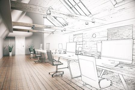 Projet inachevé de l'intérieur de bureau de coworking de style campagnard. Rendu 3D Banque d'images
