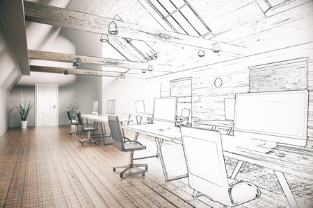 unfinished: Unfinished project of country style coworking office interior. 3D Rendering Stock Photo