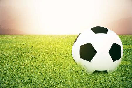 footie: Closeup of football on grass. Abstract background. 3D Rendering