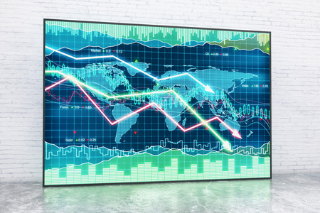trading floor: Forex chart in interior with white brick wall and concrete floor. 3D Rendering Stock Photo