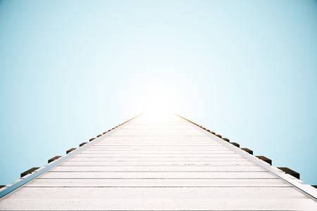 pier: Wooden pier on bright blue background with abstract sunlight. 3D Rendering
