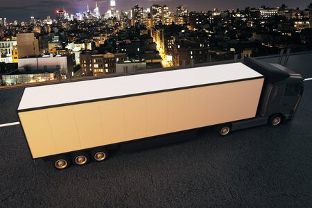 semitrailer: Side view of truck with empty trailer on night city background. Mock up, 3D Rendering Stock Photo