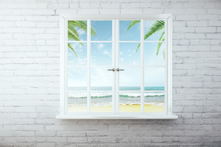 window view: Window with beach view on white brick wall. 3D Rendering