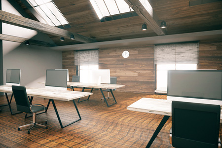 country style: Coworking office room with blank computer display, wooden floor, walls and ceiling. Country style interior. Mock up, 3D Rendering